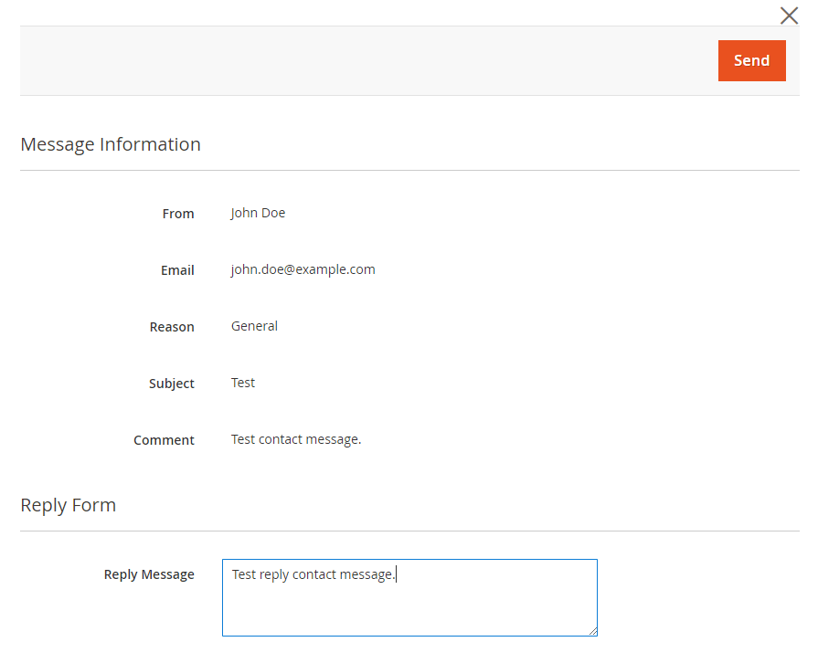 Extended Contact Message view Reply modal for Magento 2