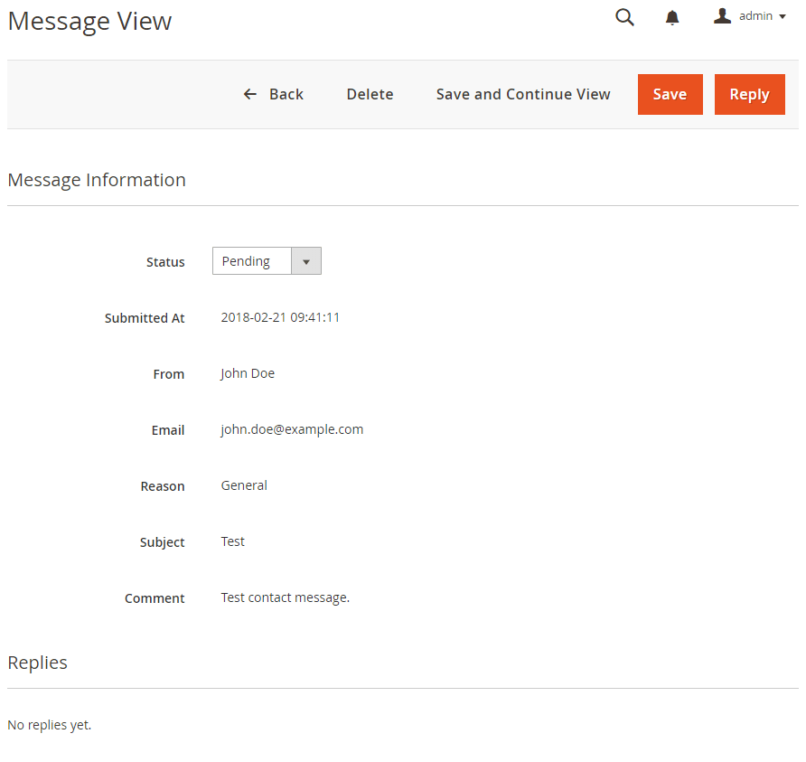 Extended Contact Message View Magento 2