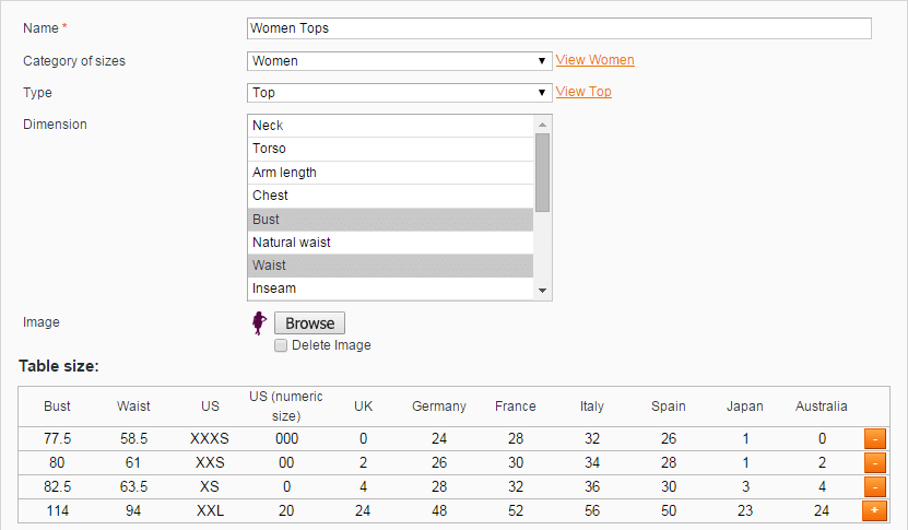 Manage size guide on admin end. Size Chart extension for Magento