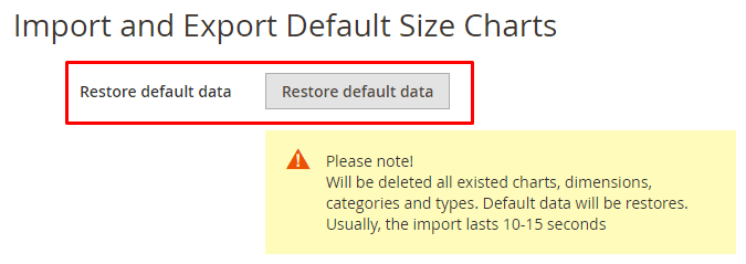 Import or restore size charts form backend in Magento 2