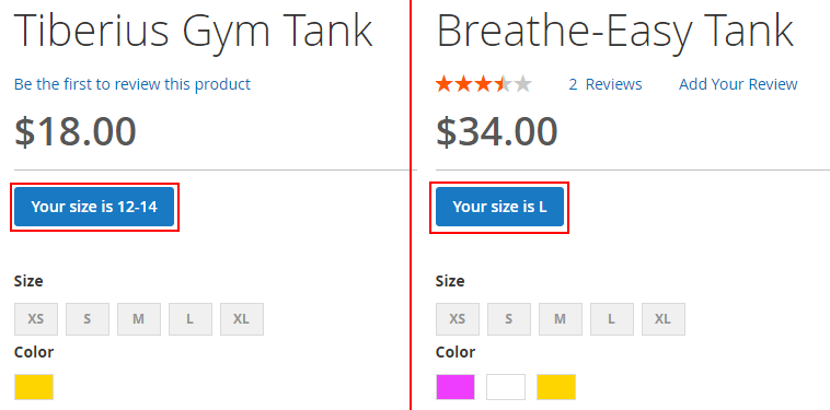 Dynamic size chart labels on the button on the product page for Magento 2